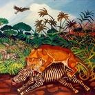 Antonio Ligabue, Leonessa che azzanna una zebra, 1950-55, olio su faesite, 72 x 88 cm.