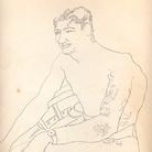 Tancredi Parmeggiani, Senza titolo (Uomo in barca), s.d., China su carta 24.2 x 32.7 cm Collezione privata, Mestre