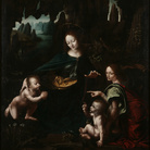 Leonardo da Vinci e assistente, La Vergine delle rocce (seconda o terza versione, 1495-1497 circa, Olio su tavola trasportato su tela, 122 x 154.5 cm, Svizzera, Collezione privata (già Parigi, Collezione Chéramy)
