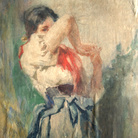 Vespasiano Bignami, Onesto rossore, Acquerello su carta, 34 x 48 cm, Collezione privata