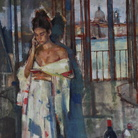 Geoffrey Humphries, Kimono and Red Wine, Giudecca Studio, Olio su tela (Particolare), 70 x 100 cm | Courtesy of the Artist and The Osborne Studio Gallery, London