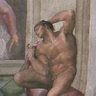 Michelangelo Buonarroti, Ignudo, particolare della volta della Cappella Sistina, 1508-1512. Affresco © Musei Vaticani