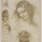 Leonardo da Vinci, Studi di testa femminile, 1505-1507. Matita nera, penna e inchiostro sucarta, 198 ✕ 166 mm. The Royal Collection / HM Queen Elizabeth II