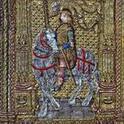 Piviale di San Vincenzo, Manifattura lombarda, 1490-1510, Tessuto laminato in oro, argento e seta policroma, Bergamo, Fondazione Bernareggi