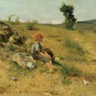 Luigi Bechi, Bambino al sole, olio su tavola, 35x45cm, 1875 ca.