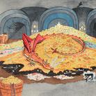 J. R. R. Tolkien, Conversation with Smaug   © The Tolkien Estate Limited 1937   Un acquerello dipinto da Tolkien nel 1937 come illustrazione per la prima edizione americana de Lo Hobbit. In questa immagine, Bilbo Baggins, reso invisibile da un anello magico, dialoga con il drago sputafuoco, Smaug.