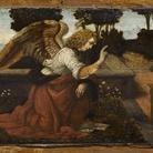 Leonardo da Vinci, Annunciazione, 1478-1480 circa. Olio su tavola di pioppo, 16 ✕ 60 cm. Parigi, Musée du Louvre, Département des Peintures, già in Collezione Campana, Roma, entrato al Louvre nel 1863