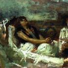 Gaetano Previati, Fumatrice di haschisch o Fumatrice di oppio, Bozzetto, 1887, Olio su tela, 27 x 51.5 cm, Collezione privata