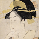 Kitagawa Utamaro, Ritratto di beltà, 1795 circa, Silografia policroma, 36.9 x 24.6 cm, Honolulu Museum of Art | Courtesy of Palazzo Reale, Milano 2016