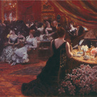 Giuseppe De Nittis, Il salotto della principessa Mathilde, 1883, Olio su tela, 92.5 x 74 cm, Barletta, Pinacoteca Giuseppe De Nittis