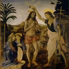 Leonardo da Vinci e Andrea del Verrocchio, Battesimo di Cristo, 1475-1478. Olio e tempera su Tavola, cm 177cm×151. Galleria degli Uffizi, Firenze