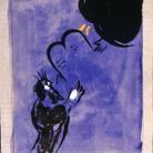 Marc Chagall, Mosè riceve le Tavole della Legge, 1956. Disegno per l'edizione Verve della Bibbia (nn.33-34). Inchiostro di china, gouache, grafite e acquerello su carta, cm 40x31,2. Dono di Ida Chagall, Parigi © Chagall ® by SIAE 2 015