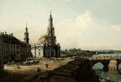 immagine di La Hofkirche di Dresda con il castello e il ponte di Augusto (Dresda dalla riva sinistra dell'Elba)