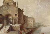 immagine di Capriccio con chiesa gotica e laguna