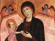 immagine di Madonna in trono con Bambino e due angeli (Madonna Gualino)