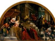 immagine di I Rettori di Vicenza Silvano Cappello e Giovanni Moro davanti alla Madonna in trono tra i santi Marco e Vincenzo