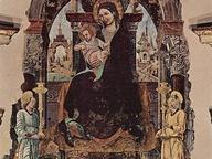 immagine di Madonna in trono con due angeli