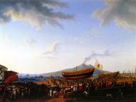 immagine di Il cantiere di Castellammare nel momento che si vara il vascello Partenope
