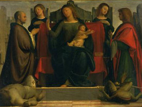 immagine di Madonna in trono tra Sant'Ambrogio e San Michele