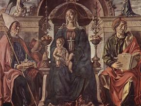 immagine di Pala dei Mercanti - Madonna in trono col Bambino coi Santi Petronio, Giovanni Evangelista e il committente Alberto Cattanei