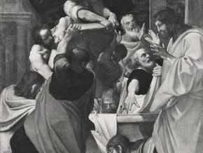 immagine di Apostoli intorno al sepolcro della Madonna colmo di fiori