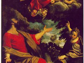 immagine di San Vincenzo Martire in adorazione della Vergine col Bambino