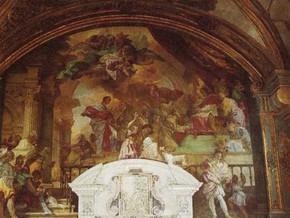 immagine di San Francesco offre le rose al Papa