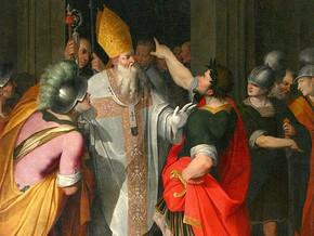 immagine di Sant'Ambrogio che ferma Teodosio di Camillo Procaccini