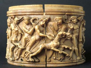 immagine di Pisside con scene della vita di Dioniso