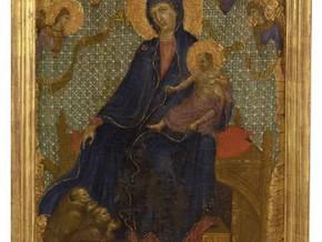 immagine di Madonna col Bambino e tre francescani in adorazion