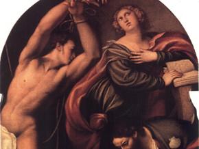immagine di I Ss. Caterina, Sebastiano e Rocco cui un angelo mostra il cammino