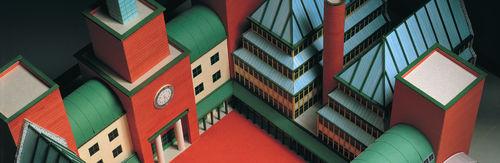 Aldo Rossi, Modello di progetto per un nuovo stabile amministrativo per la UBS, Lugano, 1990. Carta, cartoncino, legno