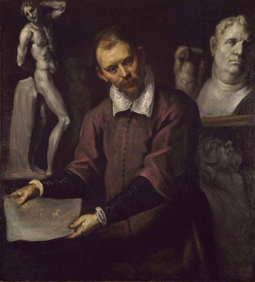 Palma il giovane, Autoritratto fra sculture antiche e moderne. Olio su tela. Birmingham, Museum of Fine Arts
