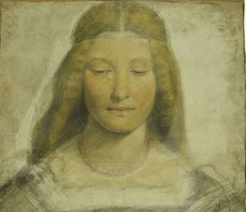 Giovanni Antonio Boltraffio, <em>Studio di figura femminile</em>, 1498-1502 circa, Carboncino e pastelli colorati su carta preparata, 544 x 404 mm, Filigrana a fiore con cinque petali (simile a Briquet 6600), F 290 inf. foglio 7