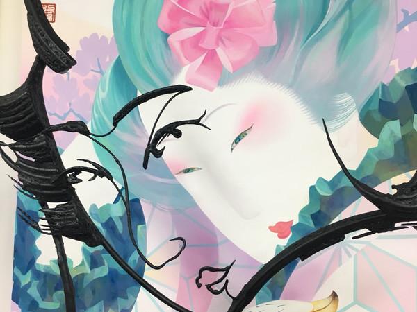 Sisyu, Ukiyoe Seven, 2017, dettaglio. Acrilico su tela, cm. 151,5x93,6, due sculture in ferro (cm. 150x85x20 e cm. 180x85x40)