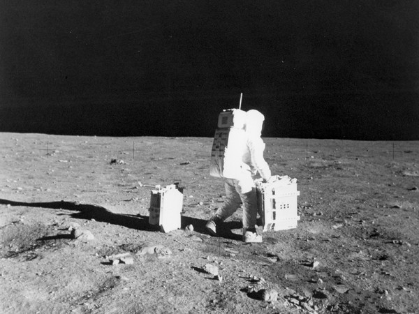 Buzz Aldrin is deploying the Early Apollo Scientific Experiment Package