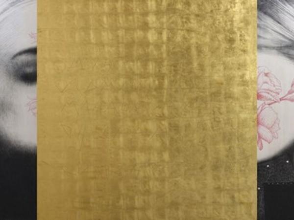 Omar Galliani, Nuovi Mantra, 2015, matita su tavola + oro zecchino in foglia, cm. 120x420