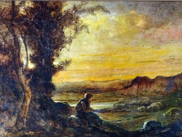 Antonio Fontanesi, <em>Pastorella col suo gregge in paesaggio al tramonto</em>, olio su cartoncino su tavola, cm. 45x33