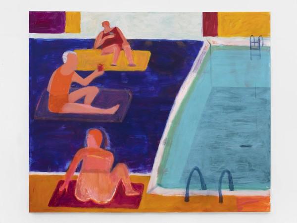 Katherine Bradford, Drinks by the pool, 2021, acrylic on canvas, 152,4 x 182,8 cm.