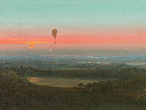 Ippolito Caffi, Ascensione in mongolfiera nella campagna romana, 1847, olio su carta. Musei civici di Treviso