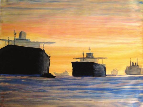 Frank Lupo, L'oceano Indiano, 2009. Gouache su carta Arches, 112x156cm.