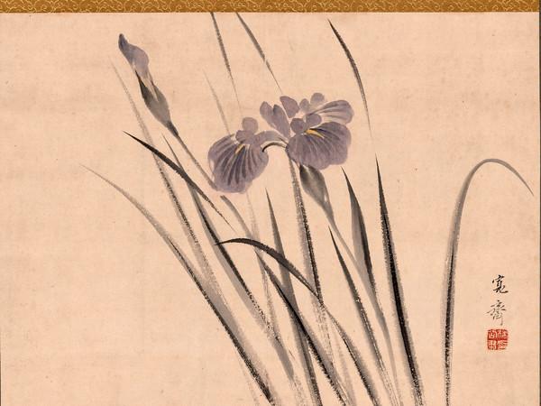 Mori Kansai, Iris oscillano al vento, 1850-1869. Dipinto a inchiostro e colori su carta, 29,5×39,9 cm. Collezione Perino