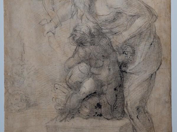 Michelangelo Buonarroti,<em>Sacrificio di Isacco,</em>1530 circa,matita nera, matita rossa, penna (<em>recto</em>),matita nera (<em>verso</em>), mm 482 x 298.Firenze, Casa Buonarroti, inv. 70 F<br />