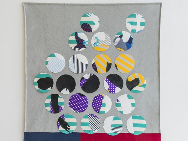 Davide Genna, About a deposition and blue, 2015, collage di tessuti e smalto su carta su tessuto, cm. 215x210