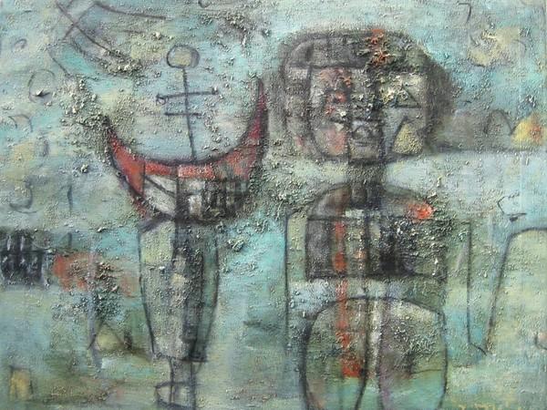 Ibrahim Kodra, Le Front aux vitres, olio su tela, 60x73cm, 1958