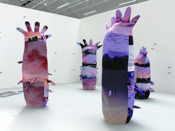 Simone Monsi, Capitolo finale, 2016, installation view, stampa digitale su cotone, imbottitura, MDF