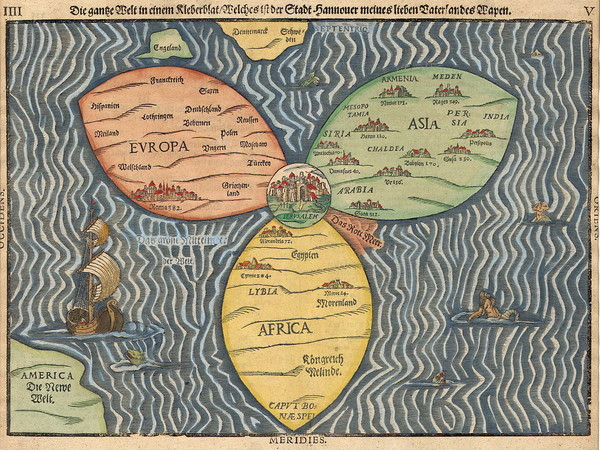Noor Abuarafeh, Observational Desier on Memory That Remains, 2014, Heinrich Bunting's Map of the World (1580s)