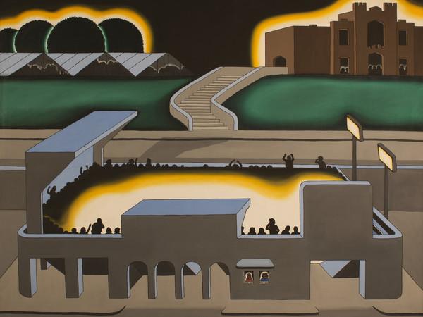 Roger Brown,&nbsp;Gothic Stadium, 1970.&nbsp;Oil on canvas,&nbsp;121.92x152.4<br /><br />