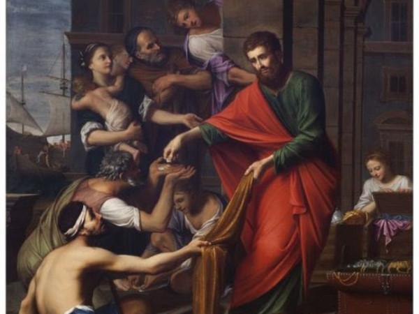 Giovanni Francesco Sacchetti, San Paolo distribuisce l'elemosina, circa 1671, olio su tela, Quadreria dell'Oratorio della Compagnia di San Paolo