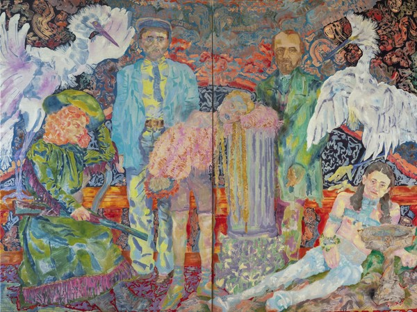Giuditta Branconi, Decisa, secca, tetra (noblesse oblige), 2020, olio su lino, 150x200 cm.